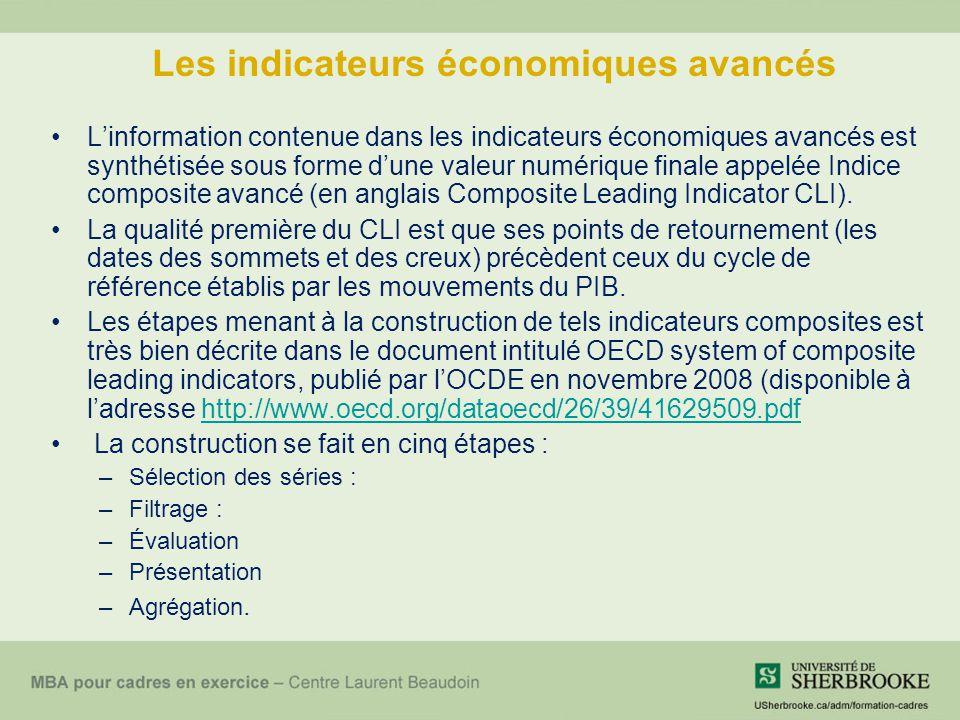 Les indicateurs économiques avancés L'information contenue dans les indicateurs économiques avancés est synthétisée sous forme d'une valeur numérique finale appelée Indice composite avancé (en anglais Composite Leading Indicator CLI).