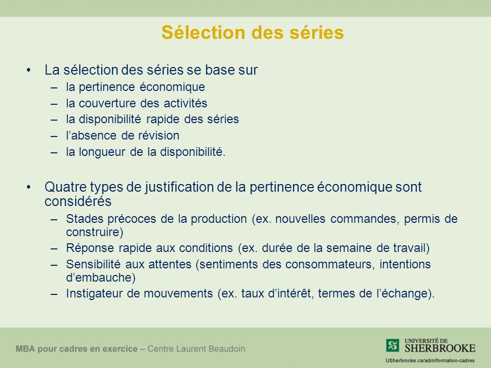 Sélection des séries La sélection des séries se base sur –la pertinence économique –la couverture des activités –la disponibilité rapide des séries –l'absence de révision –la longueur de la disponibilité.