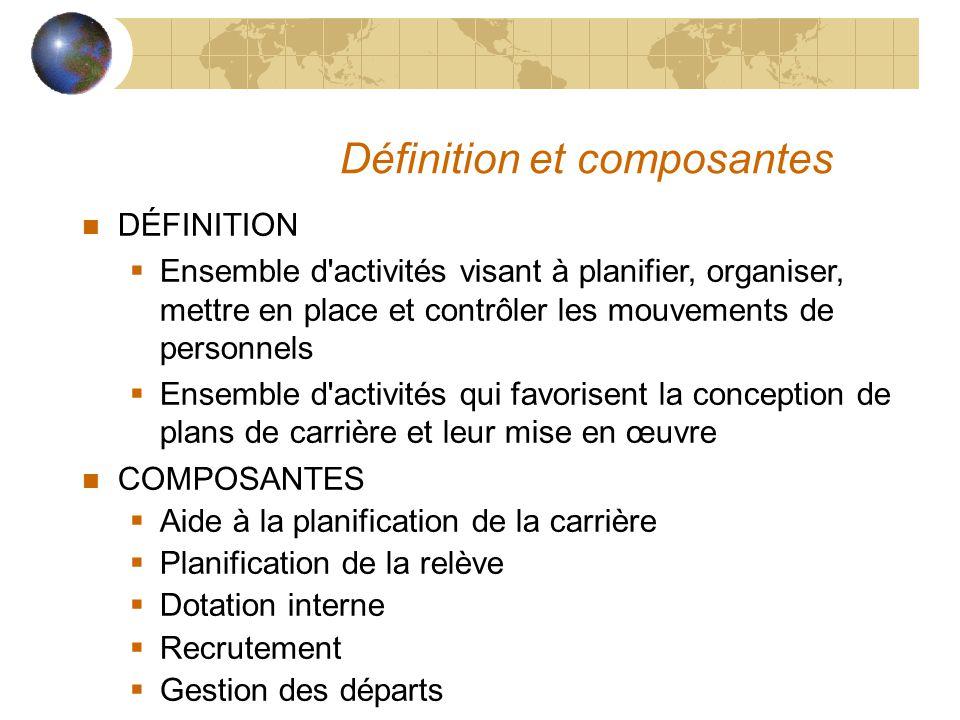 Définition et composantes n DÉFINITION  Ensemble d'activités visant à planifier, organiser, mettre en place et contrôler les mouvements de personnels