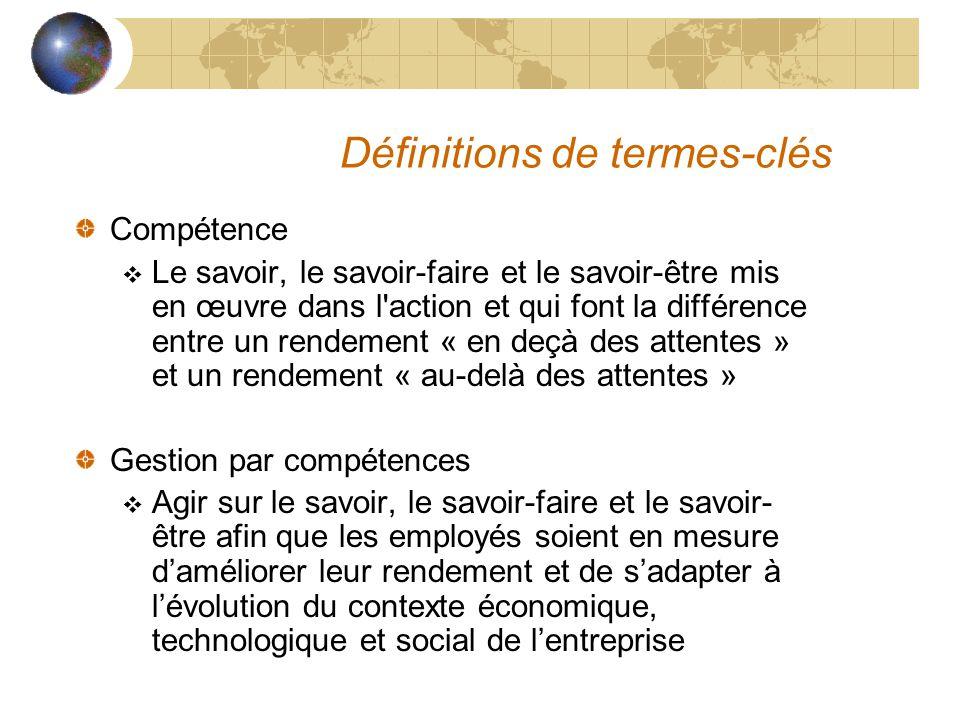 Définitions de termes-clés Compétence  Le savoir, le savoir-faire et le savoir-être mis en œuvre dans l'action et qui font la différence entre un ren