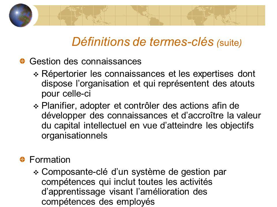 Définitions de termes-clés (suite) Gestion des connaissances  Répertorier les connaissances et les expertises dont dispose l'organisation et qui repr