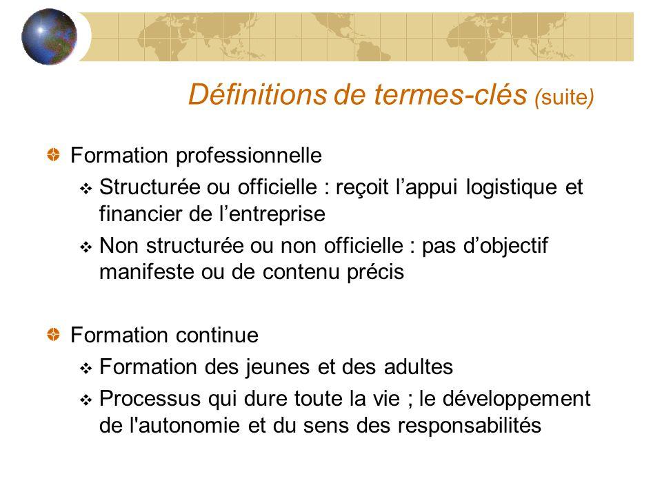 Définitions de termes-clés (suite) Formation professionnelle  Structurée ou officielle : reçoit l'appui logistique et financier de l'entreprise  Non