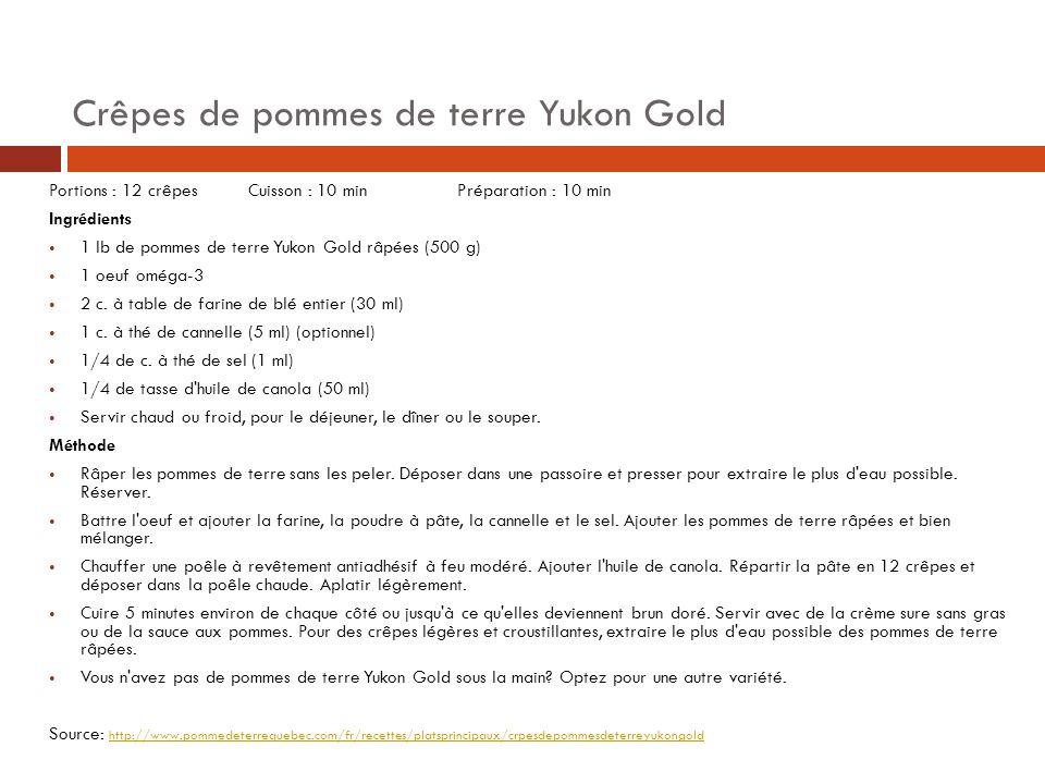 Crêpes de pommes de terre Yukon Gold Portions : 12 crêpes Cuisson : 10 min Préparation : 10 min Ingrédients 1 lb de pommes de terre Yukon Gold râpées (500 g) 1 oeuf oméga-3 2 c.