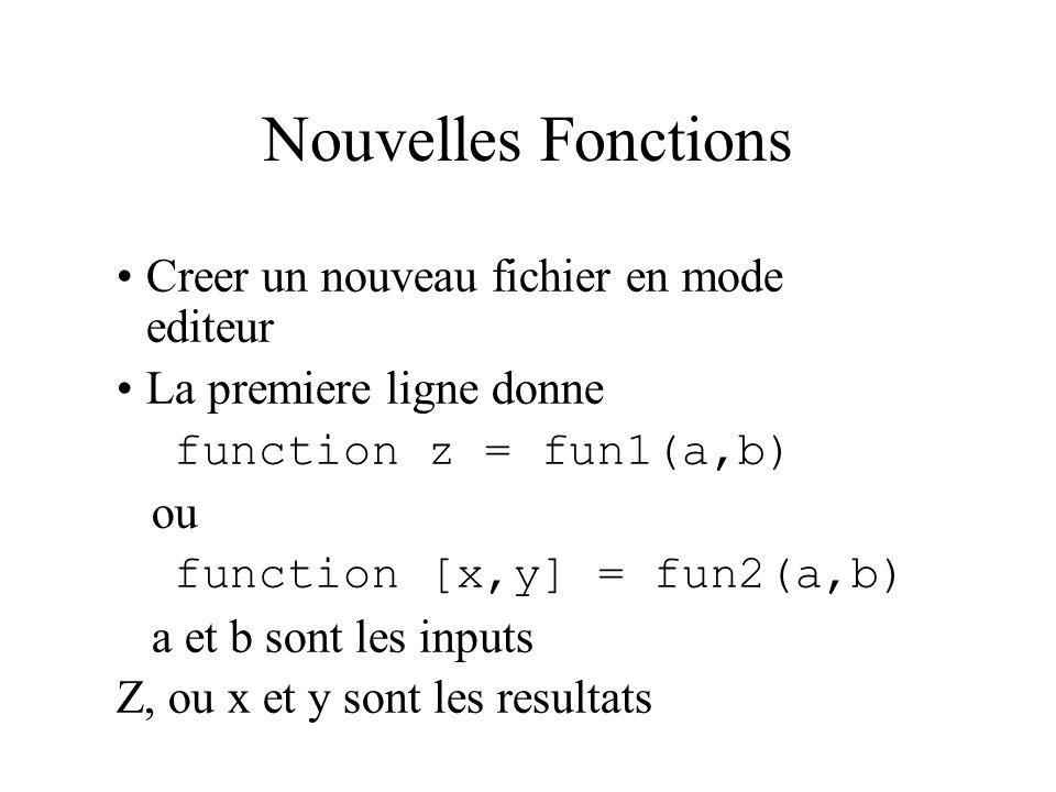 Nouvelles Fonctions Creer un nouveau fichier en mode editeur La premiere ligne donne function z = fun1(a,b) ou function [x,y] = fun2(a,b) a et b sont
