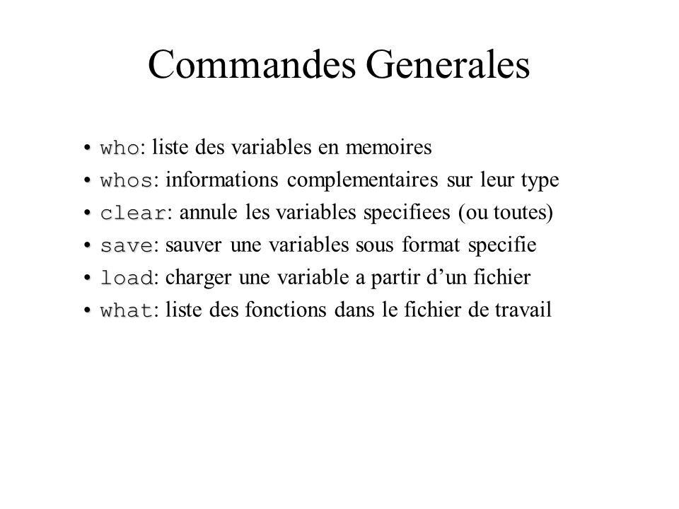 Commandes Generales whowho : liste des variables en memoires whoswhos : informations complementaires sur leur type clearclear : annule les variables s