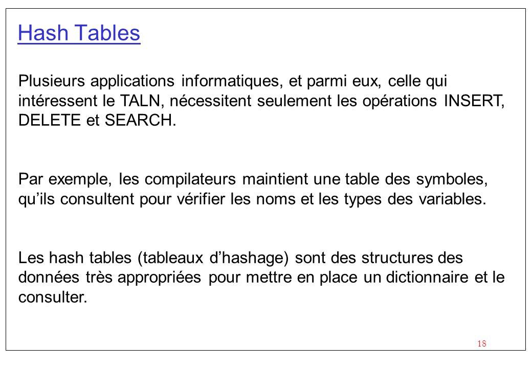 18 Hash Tables Plusieurs applications informatiques, et parmi eux, celle qui intéressent le TALN, nécessitent seulement les opérations INSERT, DELETE et SEARCH.