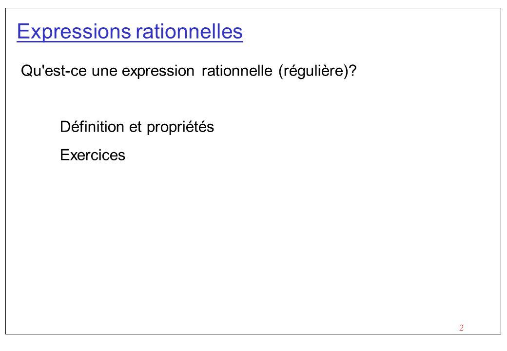 13 Solutions Décrire en français le langage dénoté par les expressions régulières suivantes : (a b)*b(a b)*a(a b)* b*(abb*)*aa(bb*a)*b*