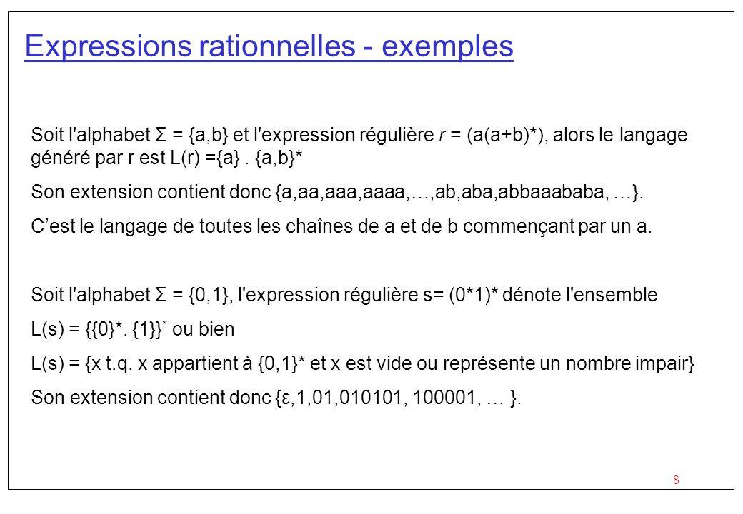 8 Expressions rationnelles - exemples Soit l alphabet Σ = {a,b} et l expression régulière r = (a(a+b)*), alors le langage généré par r est L(r) ={a}.
