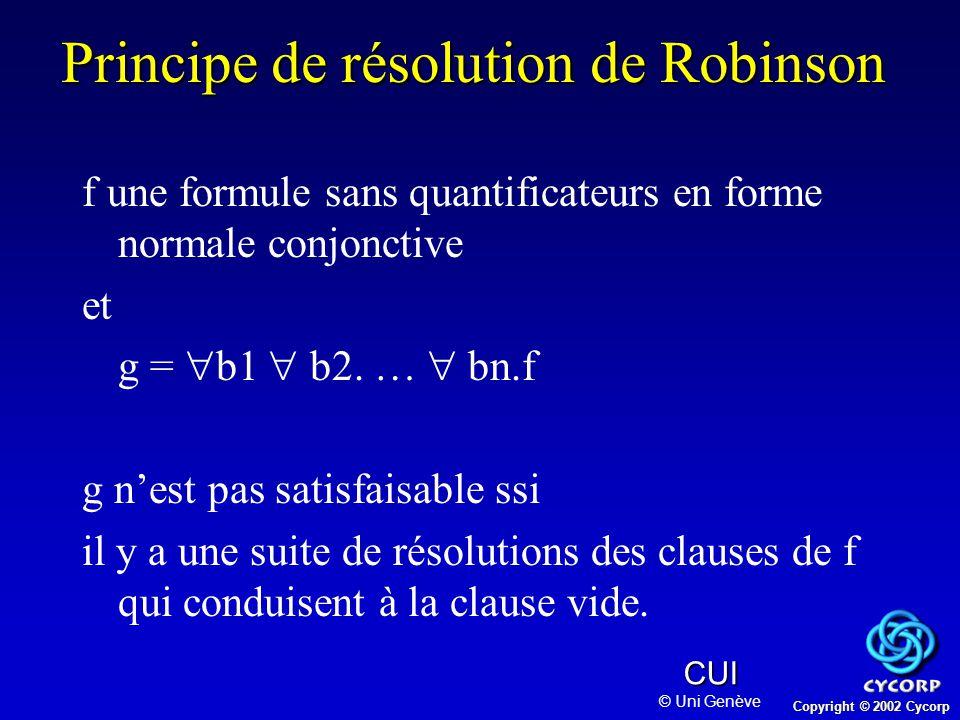 Copyright © 2002 Cycorp CUI © Uni Genève Principe de résolution de Robinson f une formule sans quantificateurs en forme normale conjonctive et g =  b1  b2.