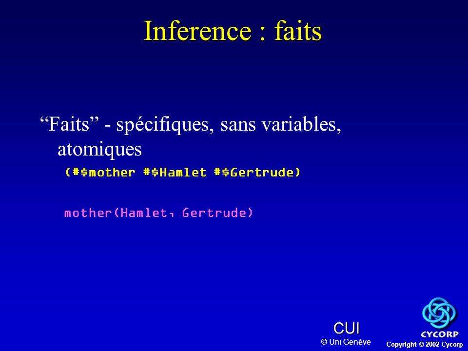 Copyright © 2002 Cycorp CUI © Uni Genève Problème: choix 1.