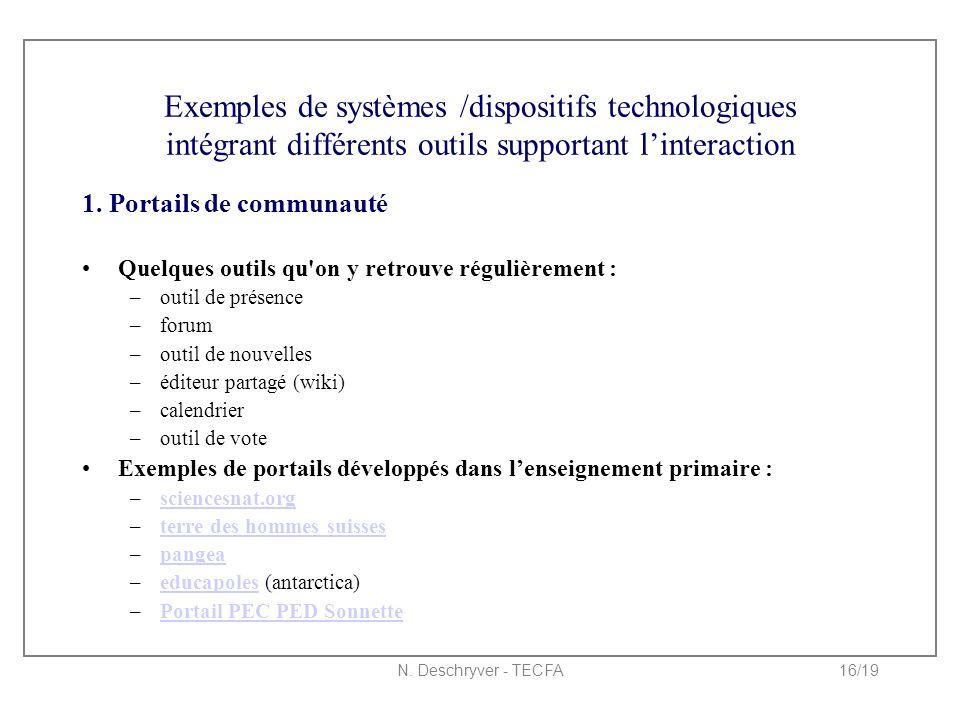 N. Deschryver - TECFA16/19 Exemples de systèmes /dispositifs technologiques intégrant différents outils supportant l'interaction 1. Portails de commun