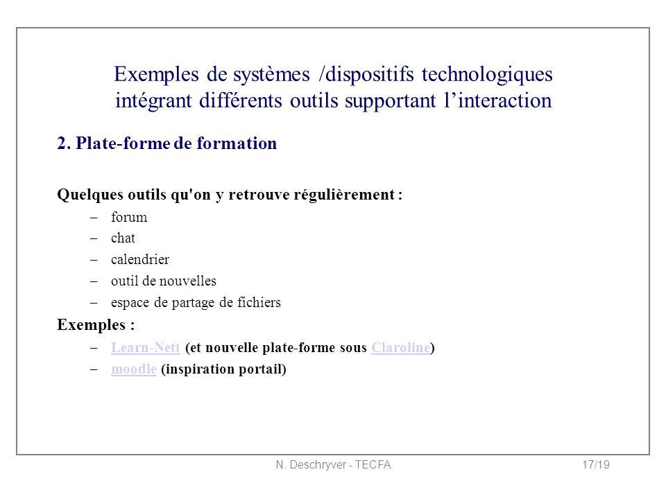 N. Deschryver - TECFA17/19 Exemples de systèmes /dispositifs technologiques intégrant différents outils supportant l'interaction 2. Plate-forme de for