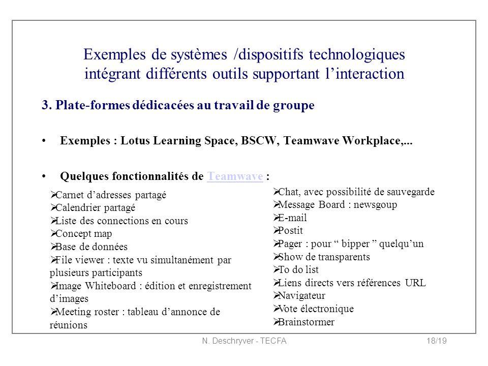 N. Deschryver - TECFA18/19 Exemples de systèmes /dispositifs technologiques intégrant différents outils supportant l'interaction 3. Plate-formes dédic