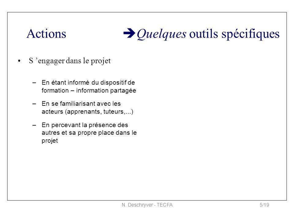 N. Deschryver - TECFA5/19 Actions  Quelques outils spécifiques S 'engager dans le projet –En étant informé du dispositif de formation – information p