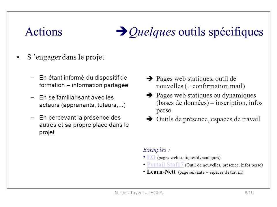 N. Deschryver - TECFA6/19 Actions  Quelques outils spécifiques S 'engager dans le projet –En étant informé du dispositif de formation – information p