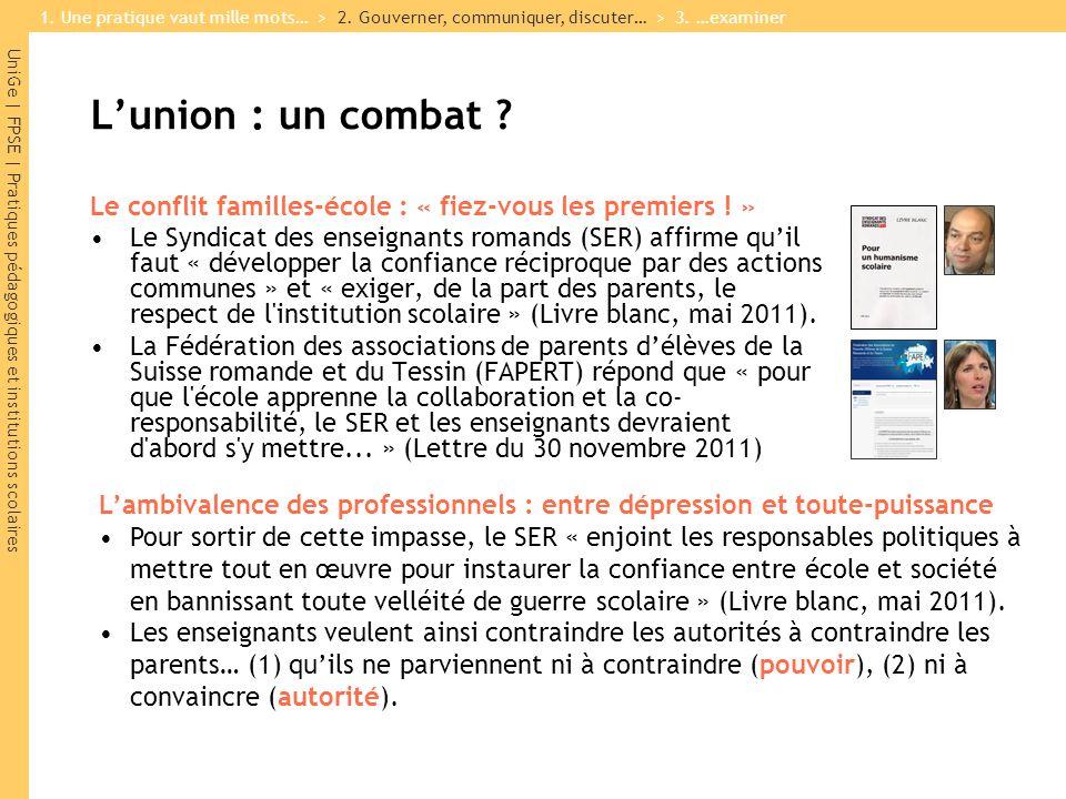 UniGe | FPSE | Pratiques pédagogiques et institutions scolaires L'union : un combat .
