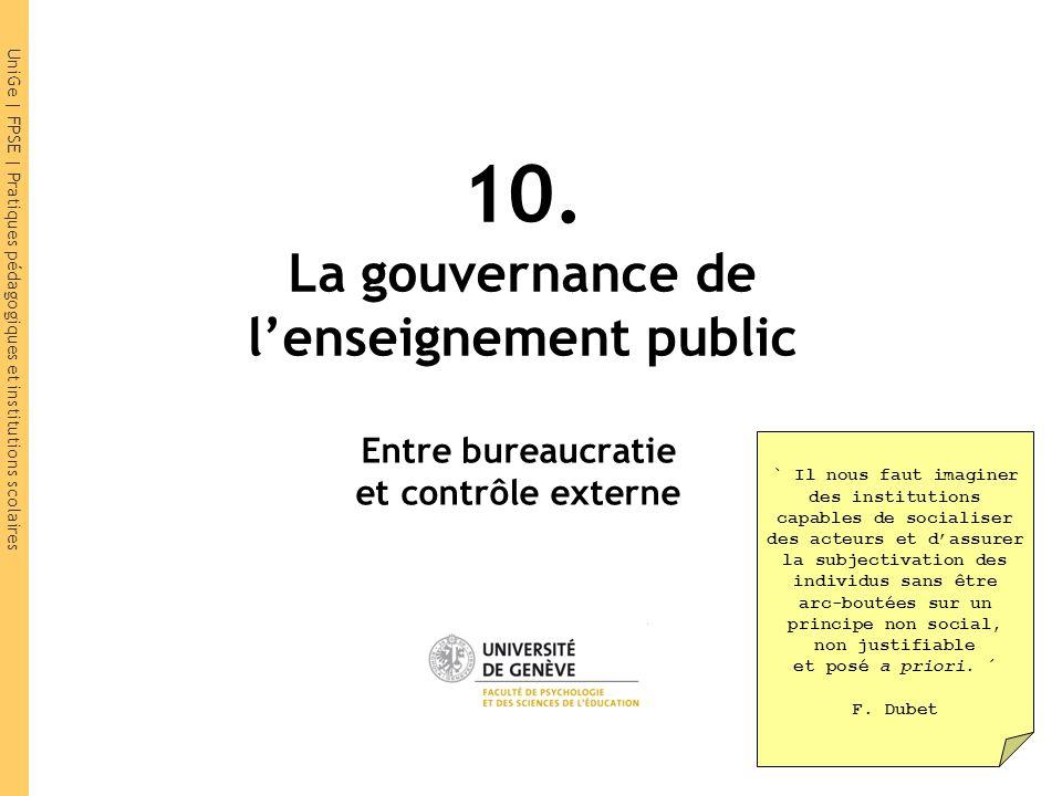 UniGe | FPSE | Pratiques pédagogiques et institutions scolaires 10. La gouvernance de l'enseignement public Entre bureaucratie et contrôle externe ` I
