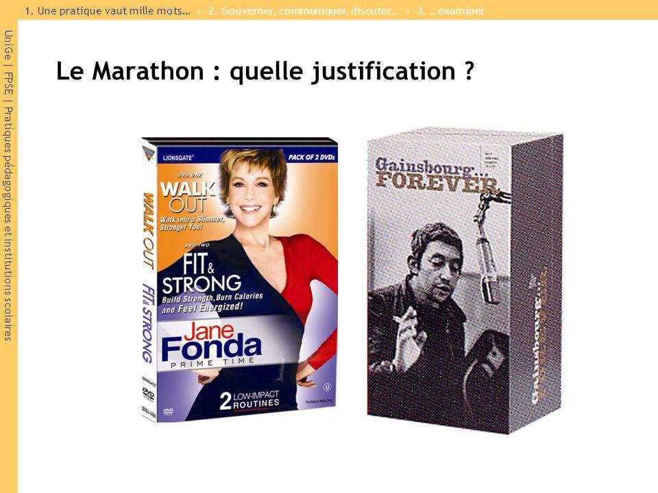 UniGe | FPSE | Pratiques pédagogiques et institutions scolaires Le Marathon : quelle justification ? 1. Une pratique vaut mille mots… > 2. Gouverner,