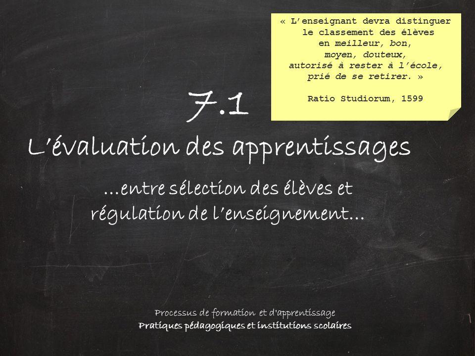 7.1 L'évaluation des apprentissages …entre sélection des élèves et régulation de l'enseignement… Processus de formation et d'apprentissage Pratiques p