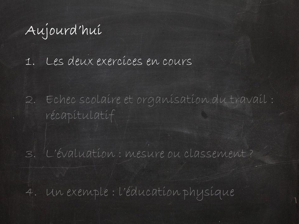 Aujourd'hui 1.Les deux exercices en cours 2.Echec scolaire et organisation du travail : récapitulatif 3.L'évaluation : mesure ou classement ? 4.Un exe