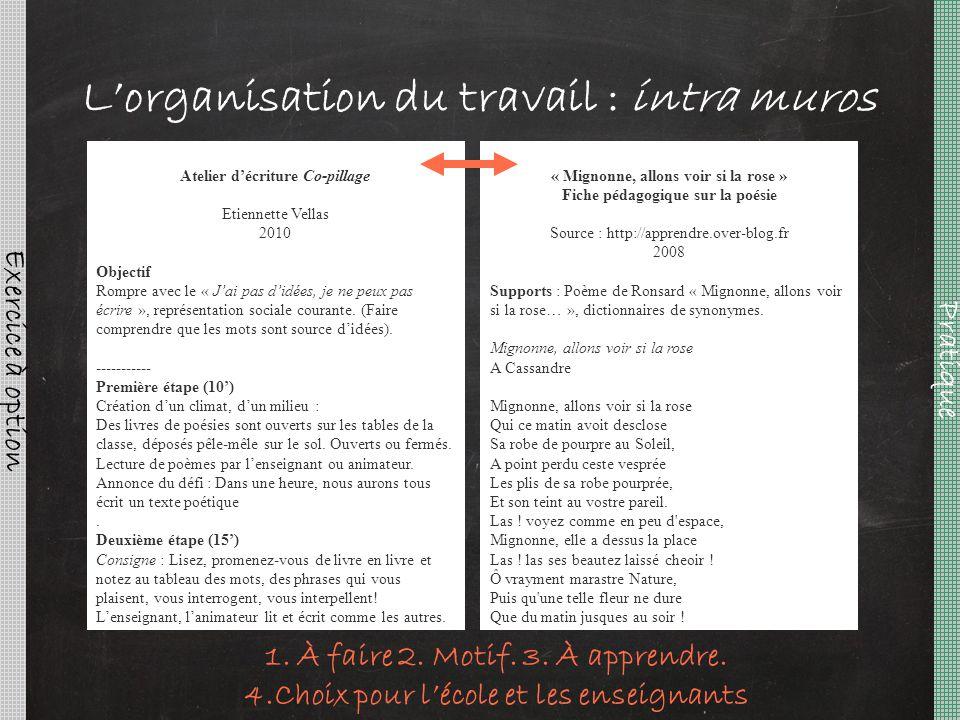 L'organisation du travail : intra muros Pratique Exercice à option « Mignonne, allons voir si la rose » Fiche pédagogique sur la poésie Source : http: