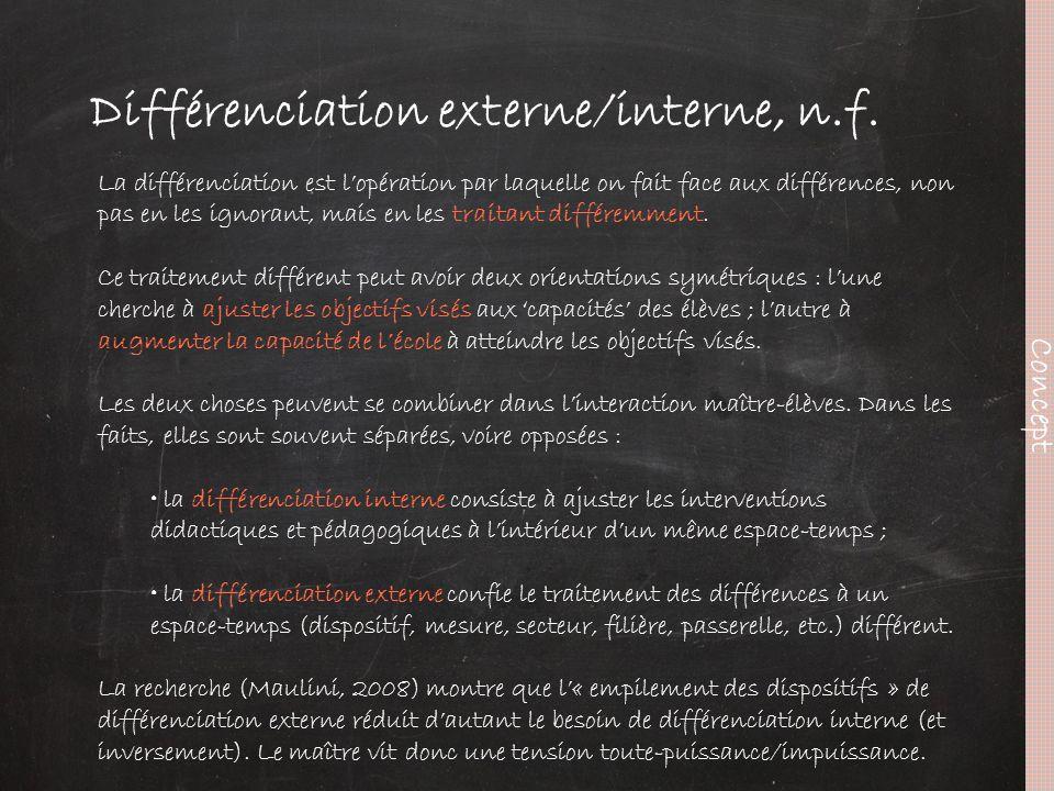 Différenciation externe/interne, n.f. Concept La différenciation est l'opération par laquelle on fait face aux différences, non pas en les ignorant, m