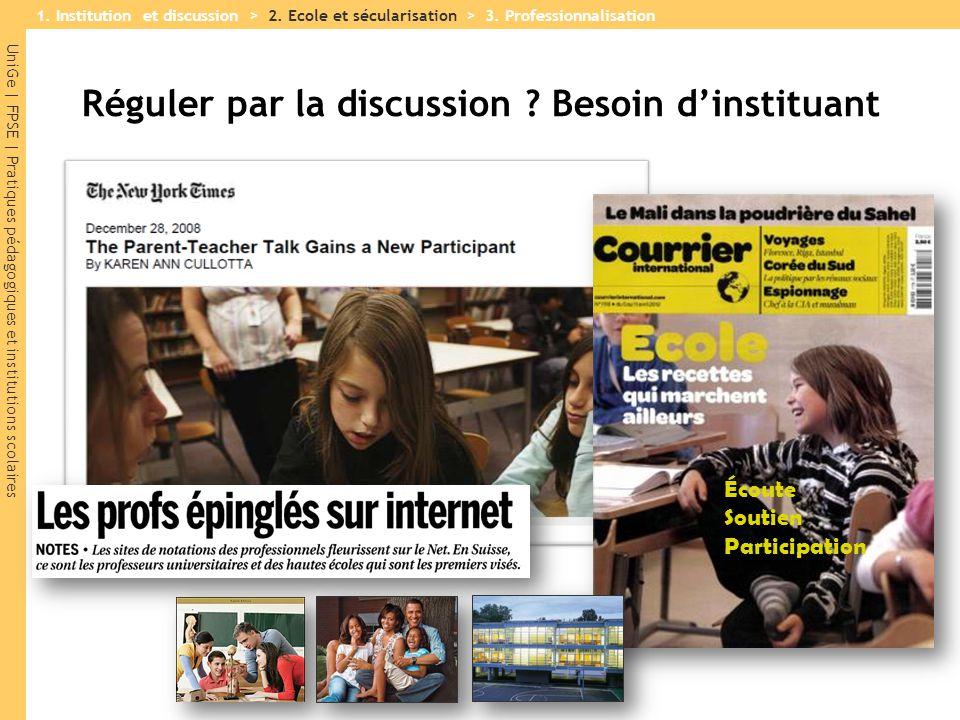 UniGe | FPSE | Pratiques pédagogiques et institutions scolaires Réguler par la discussion ? Besoin d'instituant Écoute Soutien Participation 1. Instit