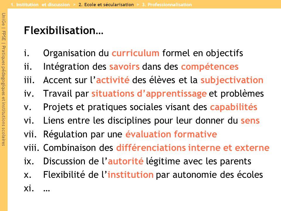 UniGe | FPSE | Pratiques pédagogiques et institutions scolaires Flexibilisation… i.Organisation du curriculum formel en objectifs ii.Intégration des s