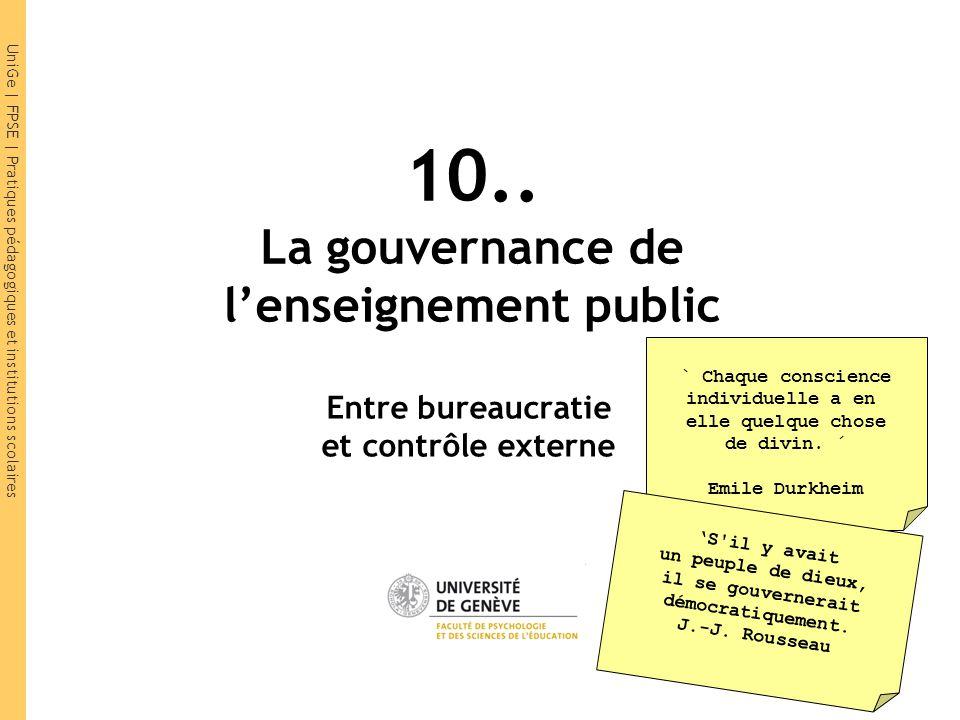 UniGe | FPSE | Pratiques pédagogiques et institutions scolaires 10.. La gouvernance de l'enseignement public Entre bureaucratie et contrôle externe `