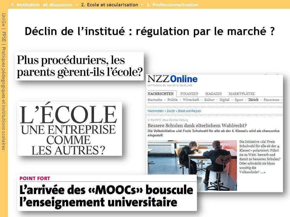 UniGe | FPSE | Pratiques pédagogiques et institutions scolaires Déclin de l'institué : régulation par le marché ? 1. Institution et discussion > 2. Ec