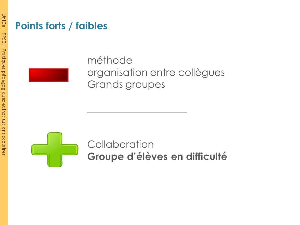 UniGe | FPSE | Pratiques pédagogiques et institutions scolaires méthode organisation entre collègues Grands groupes ____________________ Collaboration
