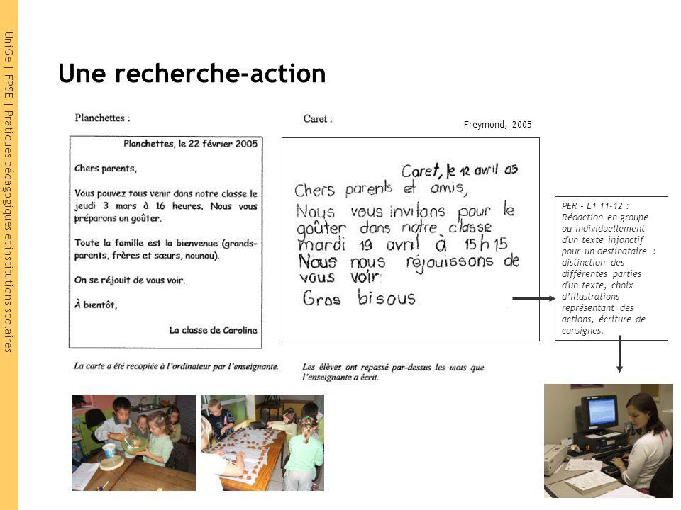 UniGe | FPSE | Pratiques pédagogiques et institutions scolaires Une recherche-action Enfants d'ouvriers : Planchettes : 65% | Caret : 5% PER – L1 11-1