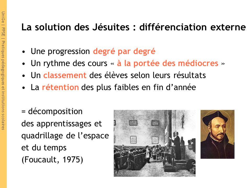 UniGe | FPSE | Pratiques pédagogiques et institutions scolaires La solution des Jésuites : différenciation externe Une progression degré par degré Un