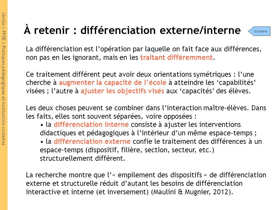 UniGe | FPSE | Pratiques pédagogiques et institutions scolaires À retenir : différenciation externe/interne La différenciation est l'opération par laq