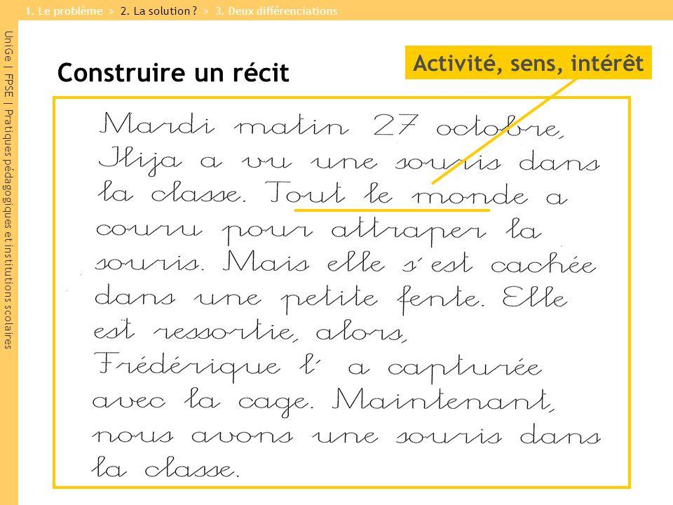 UniGe | FPSE | Pratiques pédagogiques et institutions scolaires Construire un récit Activité, sens, intérêt 1.
