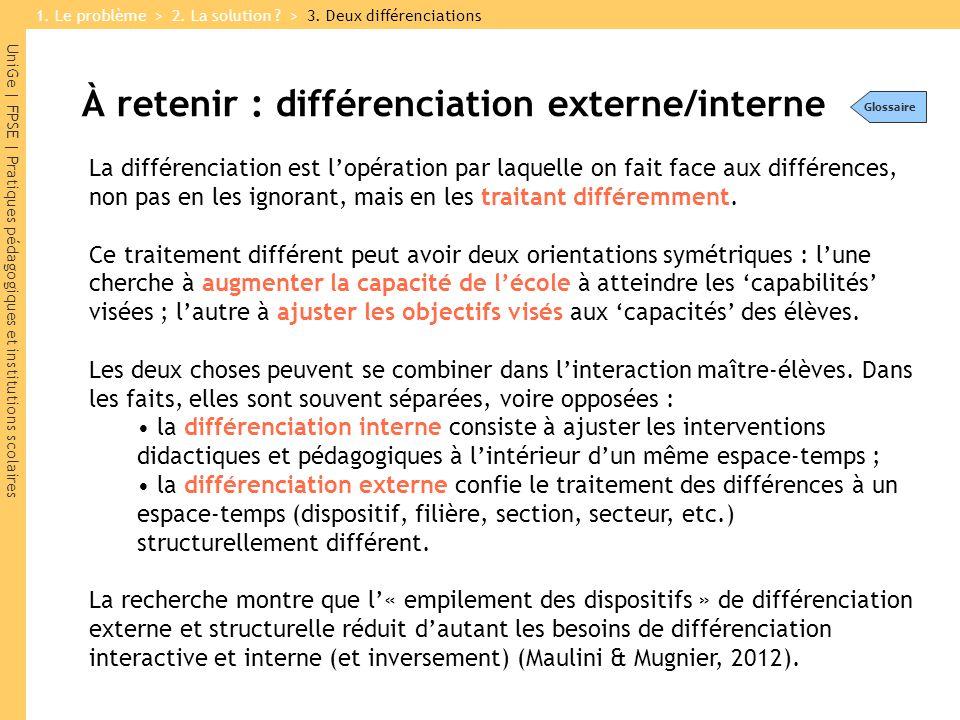 UniGe | FPSE | Pratiques pédagogiques et institutions scolaires À retenir : différenciation externe/interne La différenciation est l'opération par laquelle on fait face aux différences, non pas en les ignorant, mais en les traitant différemment.