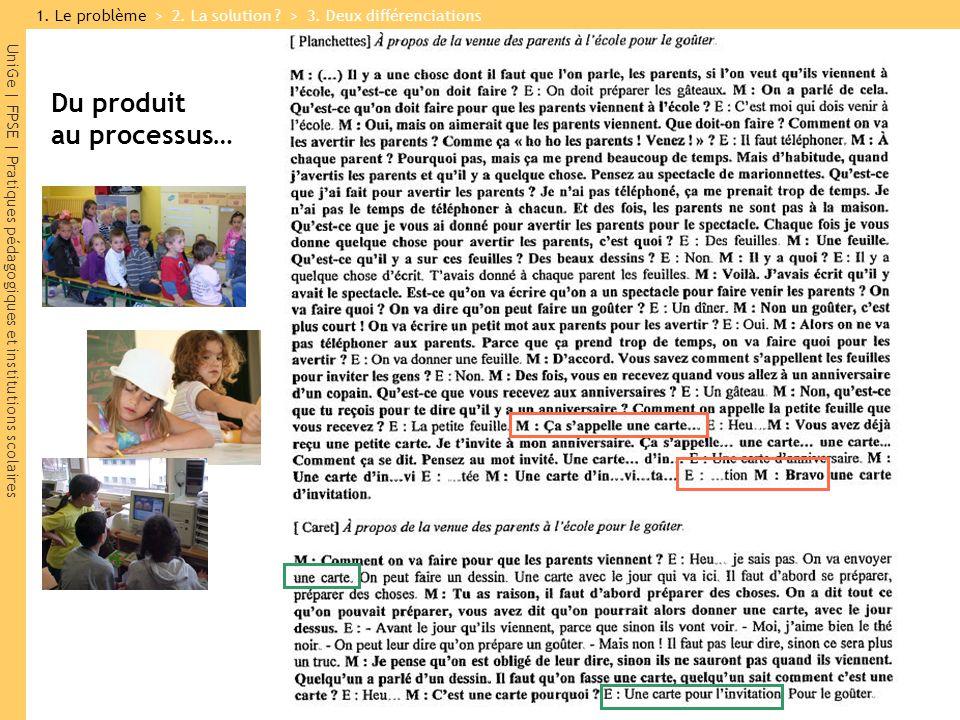 UniGe | FPSE | Pratiques pédagogiques et institutions scolaires Du produit au processus… 1.
