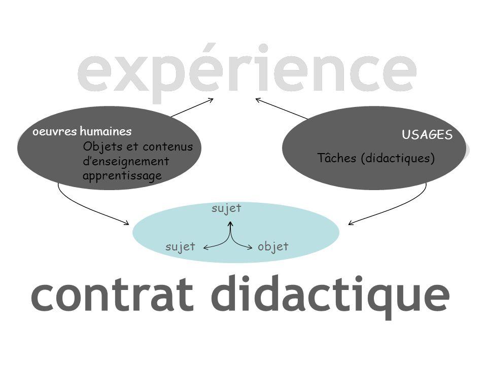 oeuvres humaines USAGES sujet objet contrat didactique expérience oeuvres humaines Objets et contenus d'enseignement apprentissage USAGES Tâches (didactiques)