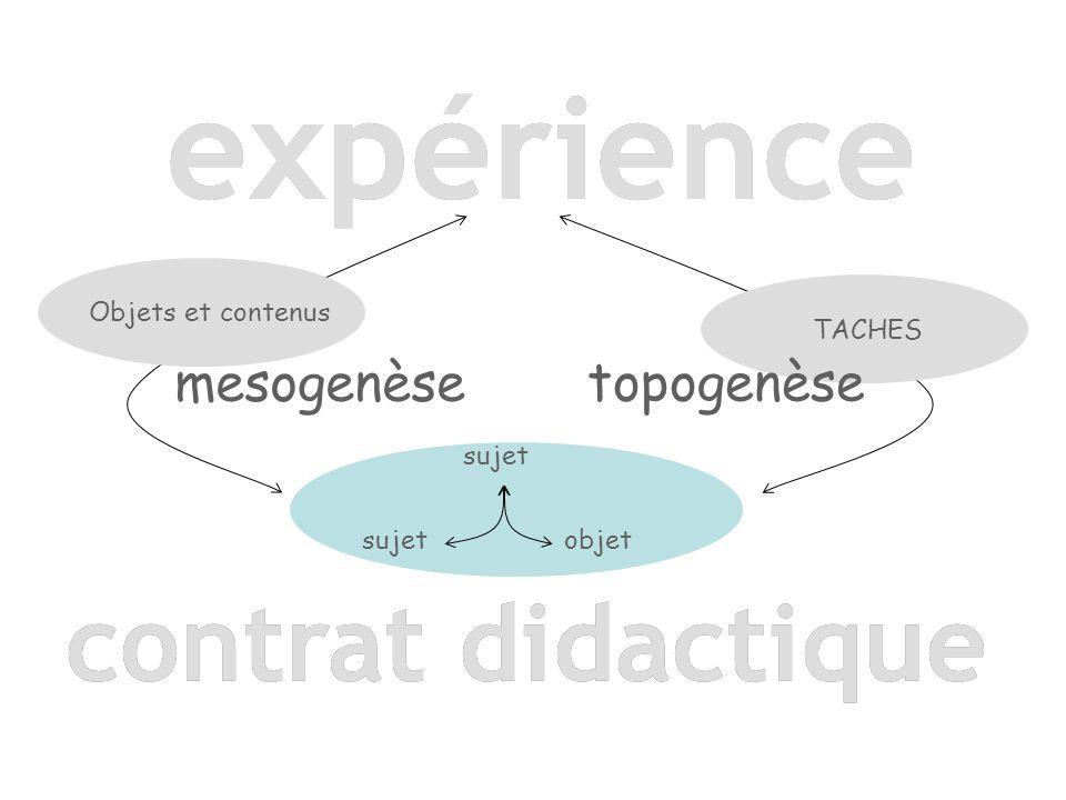 sujet objet contrat didactique expérience Objets et contenus TACHES contrat didactique topogenèse mesogenèse