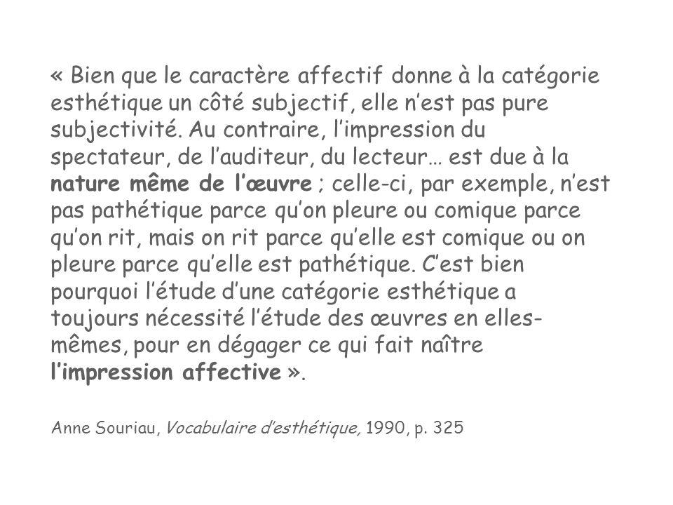 « Bien que le caractère affectif donne à la catégorie esthétique un côté subjectif, elle n'est pas pure subjectivité.