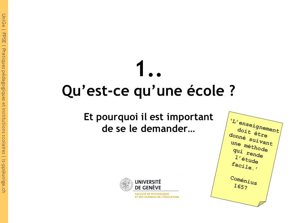 UniGe | FPSE | Pratiques pédagogiques et institutions scolaires | is-pp@unige.ch 1.Rappel : la forme scolaire 2.Pourquoi cette forme .