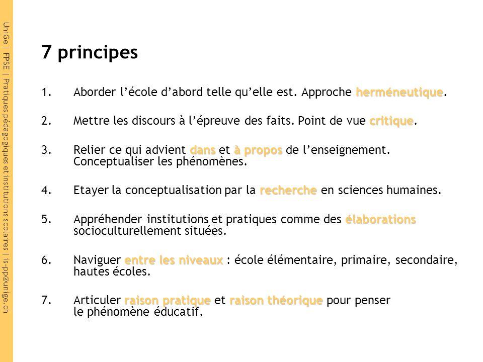 UniGe | FPSE | Pratiques pédagogiques et institutions scolaires | is-pp@unige.ch 7 principes herméneutique 1.Aborder l'école d'abord telle qu'elle est.