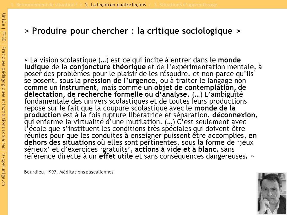 UniGe | FPSE | Pratiques pédagogiques et institutions scolaires | is-pp@unige.ch > Produire pour chercher : la critique sociologique > « La vision sco