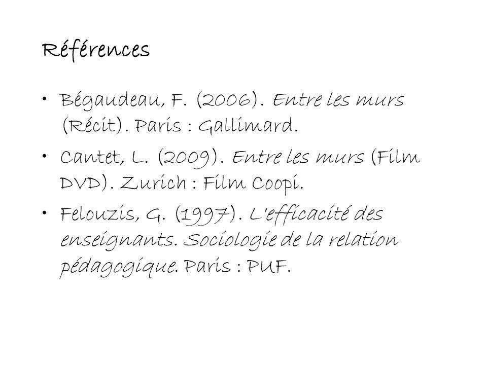 Références Bégaudeau, F. (2006). Entre les murs (Récit). Paris : Gallimard. Cantet, L. (2009). Entre les murs (Film DVD). Zurich : Film Coopi. Felouzi