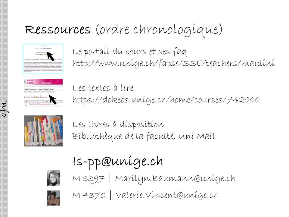 Ressources (ordre chronologique) Le portail du cours et ses faq http://www.unige.ch/fapse/SSE/teachers/maulini M 3397 | Marilyn.Baumann@unige.ch M 437