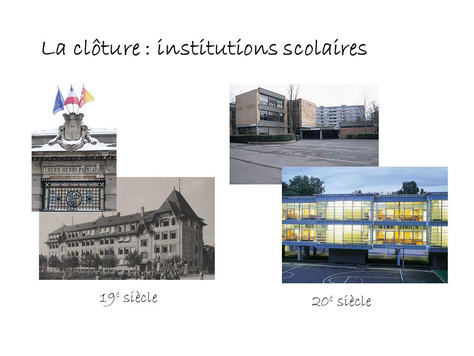 La clôture : institutions scolaires 19 e siècle 20 e siècle