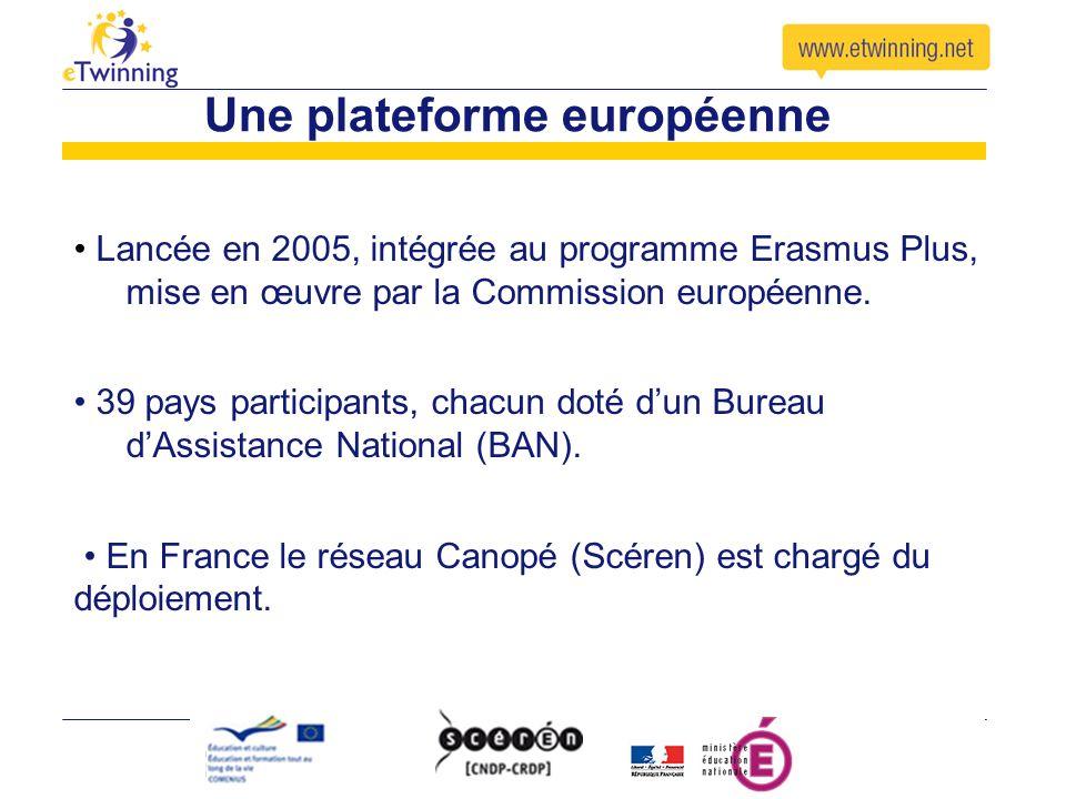 Une plateforme européenne Lancée en 2005, intégrée au programme Erasmus Plus, mise en œuvre par la Commission européenne. 39 pays participants, chacun