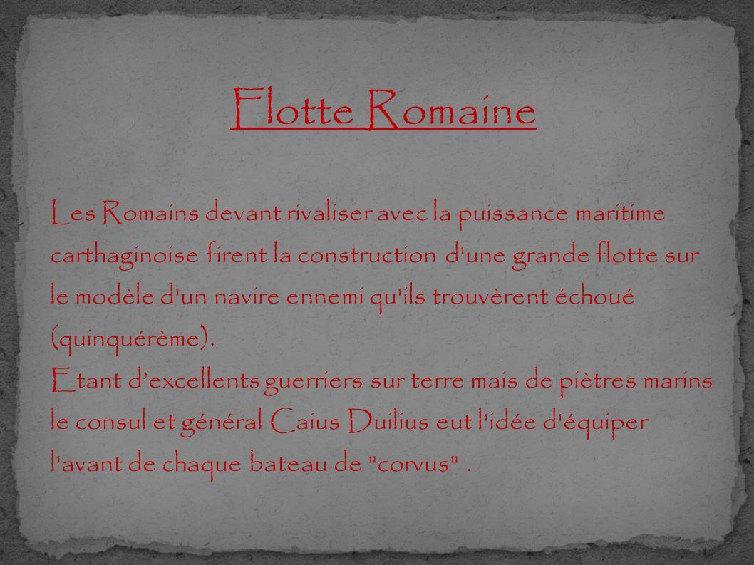 Flotte Romaine Les Romains devant rivaliser avec la puissance maritime carthaginoise firent la construction d'une grande flotte sur le modèle d'un nav