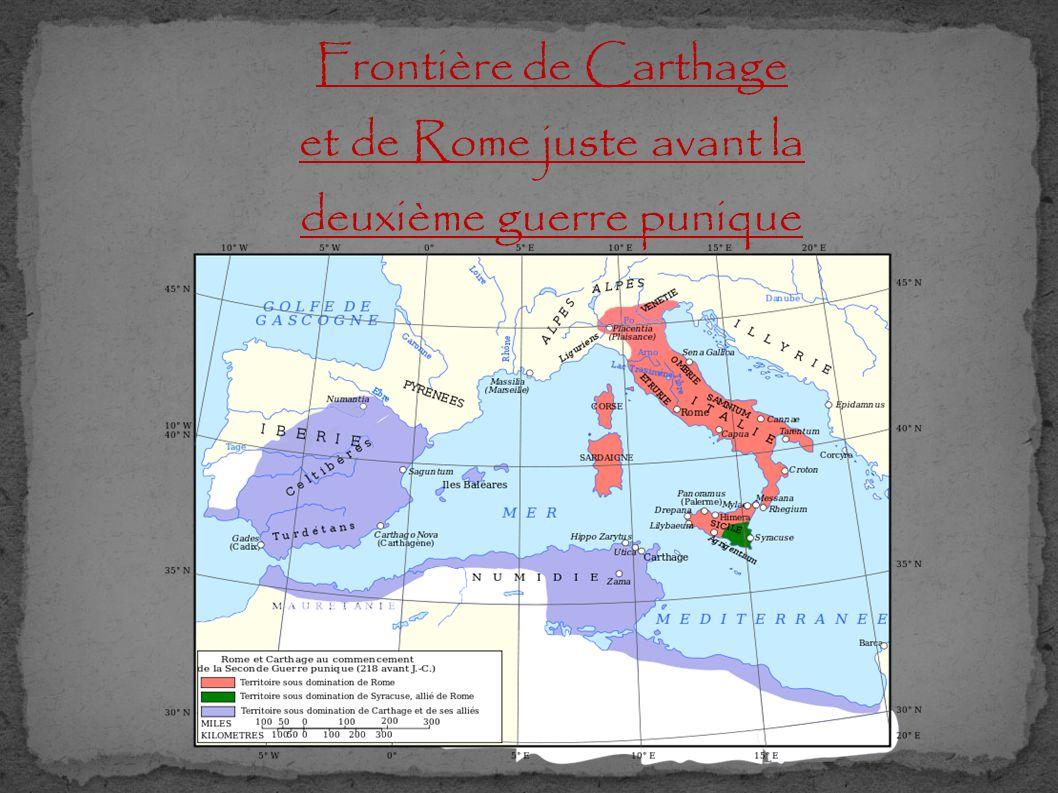 Frontière de Carthage et de Rome juste avant la deuxième guerre punique