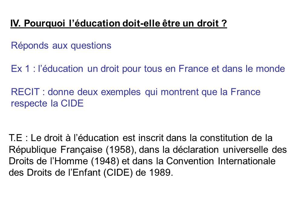 IV.Pourquoi l'éducation doit-elle être un droit .